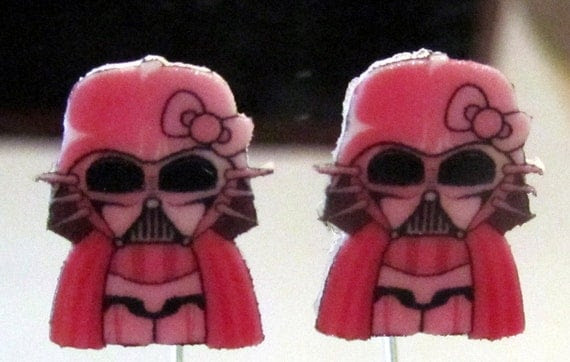 Hello Kitty Inspired Pink Darth Vader Kitty Stud Earrings Handmade