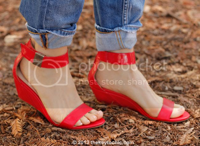 red Prabal Gurung for Target wedges, red ankle strap demi wedges