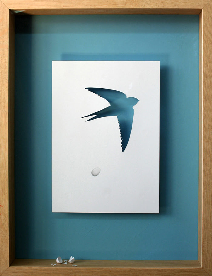 15 broken bird 11 25 Striking Framed Papercuts by Peter Callesen