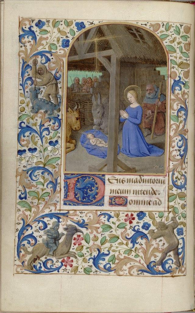 manuscript miniature of Jesus' birth biblical episode