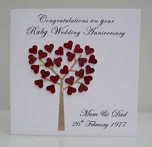 Personalised Ruby Wedding Anniversary Card   40 years