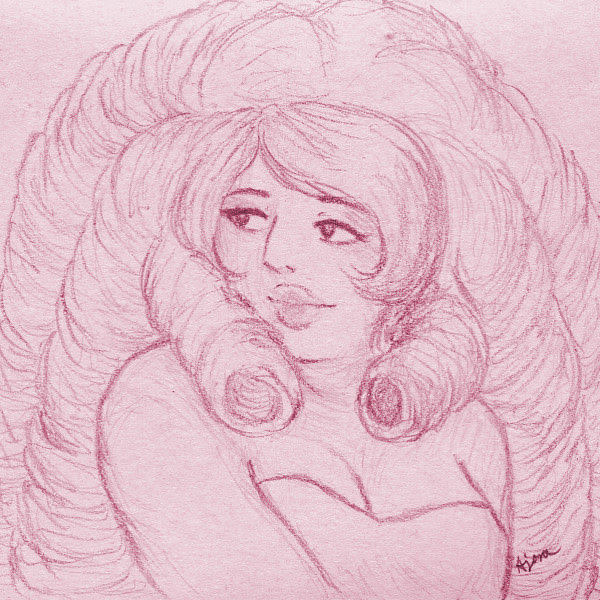 Quick, messy 3x3″ doodle of Rose. It's not my best version of her, but she's very calming to draw.