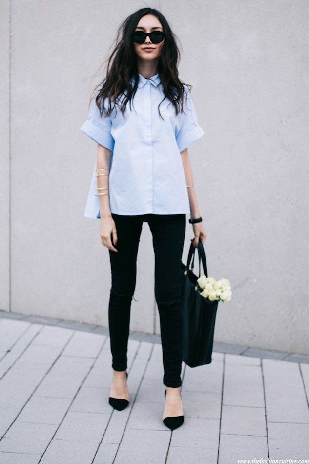 Le Fashion Blog Polished Boxy Short Sleeve Poplin Blue Button Down Shirt Black Skinny Jeans D'Orsay Heels Via The Fashion Cuisine