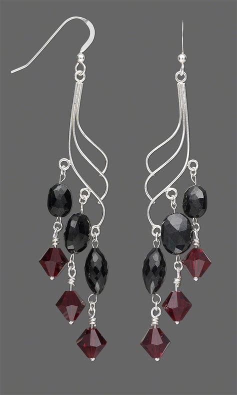 Jewelry Design   Earring Set with Black Spinel Beads and