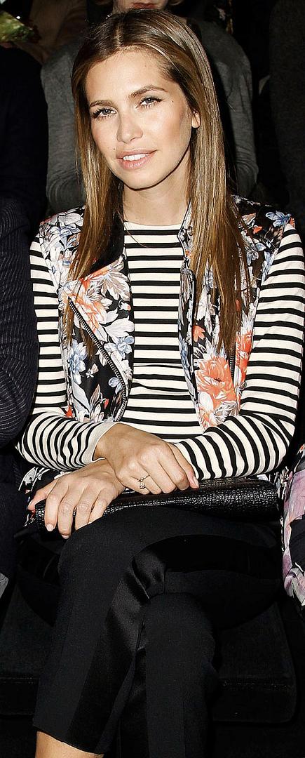 DARIA DASHA ZHUKOVA CÉLINE CELINE FLORAL LEATHER MOTO VEST STRIPE SHIRT RUSSIAN EDITOR FRONT ROW DOLCE GABBANA FW 2012 MILAN CROC PATENT CLUTCH BEAUTY HAIR