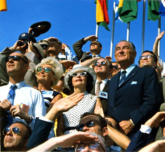 Johnson watches the launch of Apollo 11