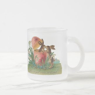 Easter Bunny Kiss Vintage Coffee Mug