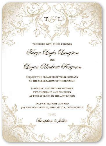 Faded Scroll 5x7 Wedding Invitations   Shutterfly