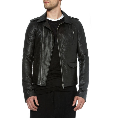 Rick Owens Stonewashed Leather Biker Jacket