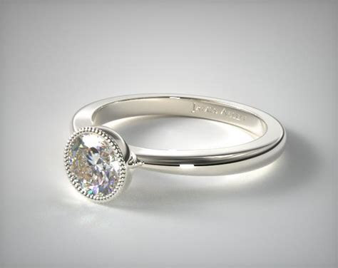 Milgrain Bezel Solitaire Engagement Ring   14K White Gold