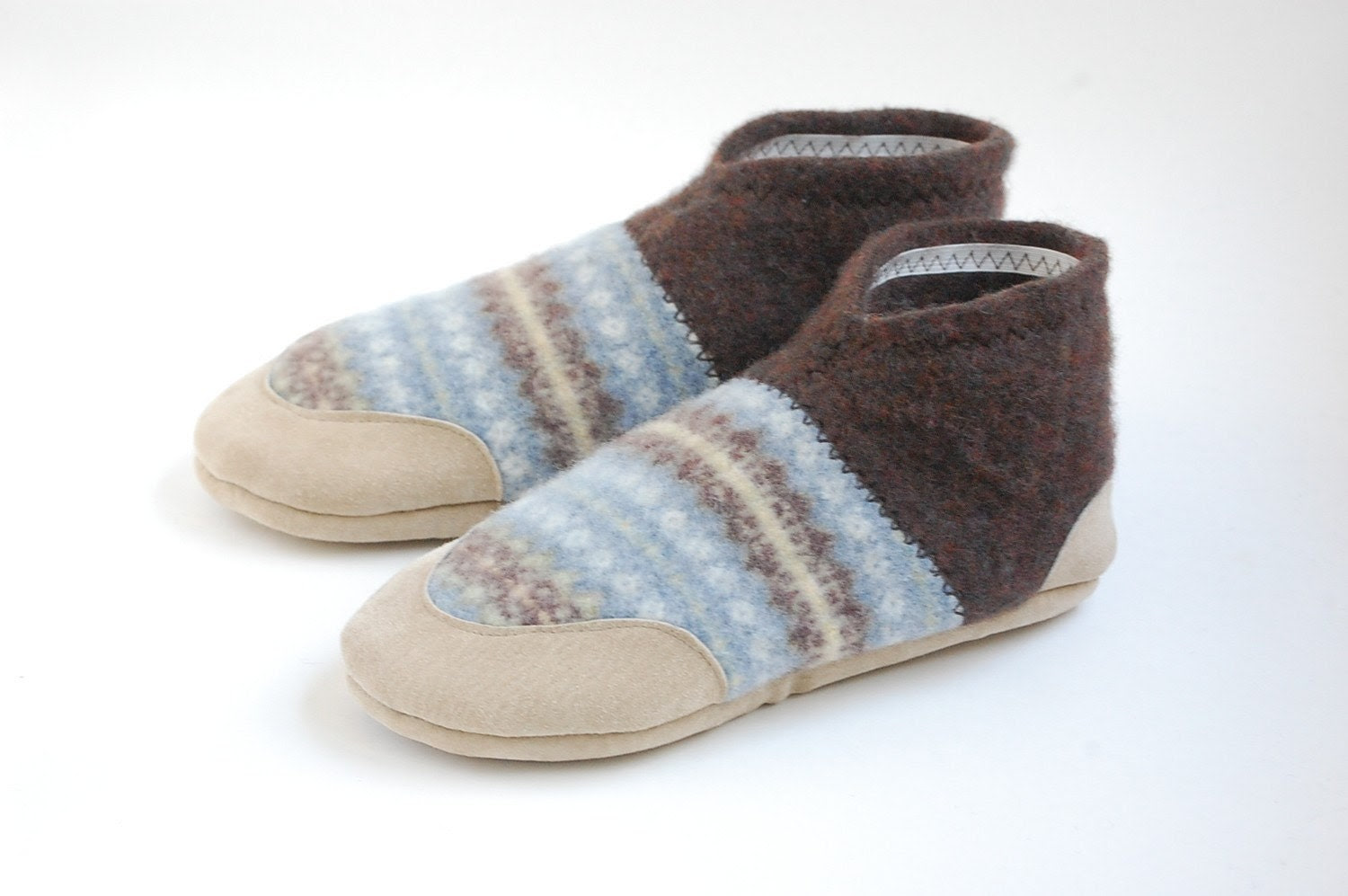 Lambswool Slippers from Upcycled Sweaters, Women sizes 5.5, 8, Pop Goes the Weasel