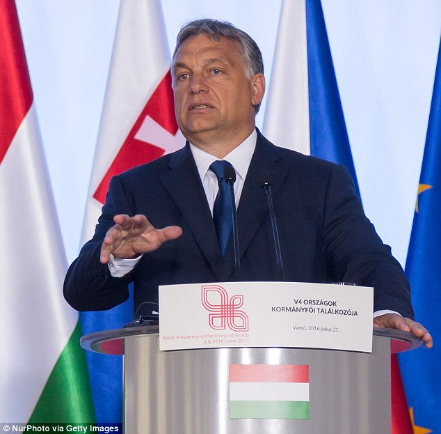 Mr Orban said that if somebody denies his opinions then 'that person harms the safety of European citizens', while talking to reporters in Warsaw