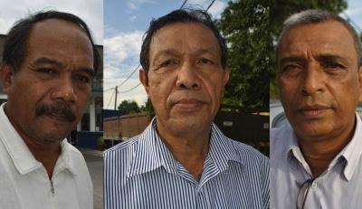 Dari kiri: Ketua Peneroka Felda Bukit Waha, Ab Aziz Abu Bakar, Ketua Peneroka Felda Aping Barat, Husin Japar dan Ketua Peneroka Felda Lok Heng Selatan, Mohammad Bakar.