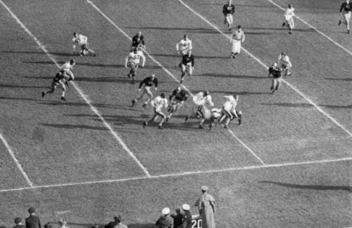 Army-Navy game 29 Nov 1941 - when last America proposed to keep an army too small for deterrence. (Navy 14, Army 6.  Image via: http://forwhattheygave.com/2013/08/17/1940-1949-army-navy-football/ )