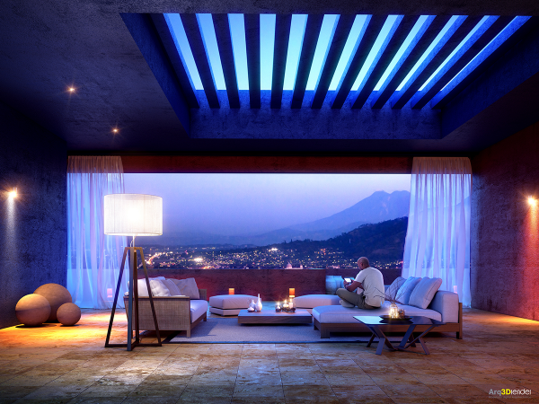 A stunning view is an enviable feature in this sleek living room, where even the ceiling opens up into the sky.