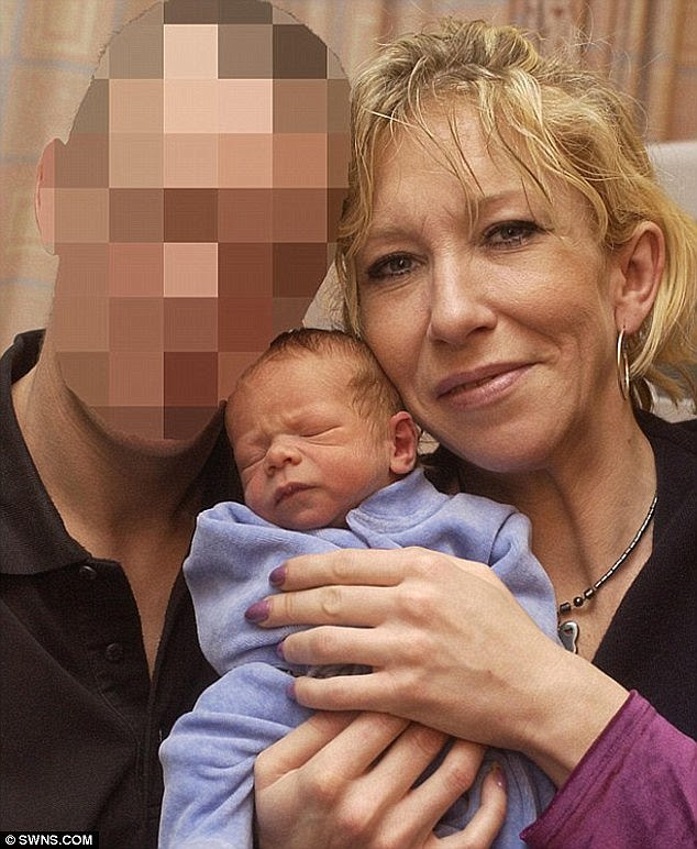 Jihadi bride Sally Jones, pictured here in December 2004, fled the UK in 2014 along with her son JoJo, pictured here just days after his birth, where the pair converted to Islam
