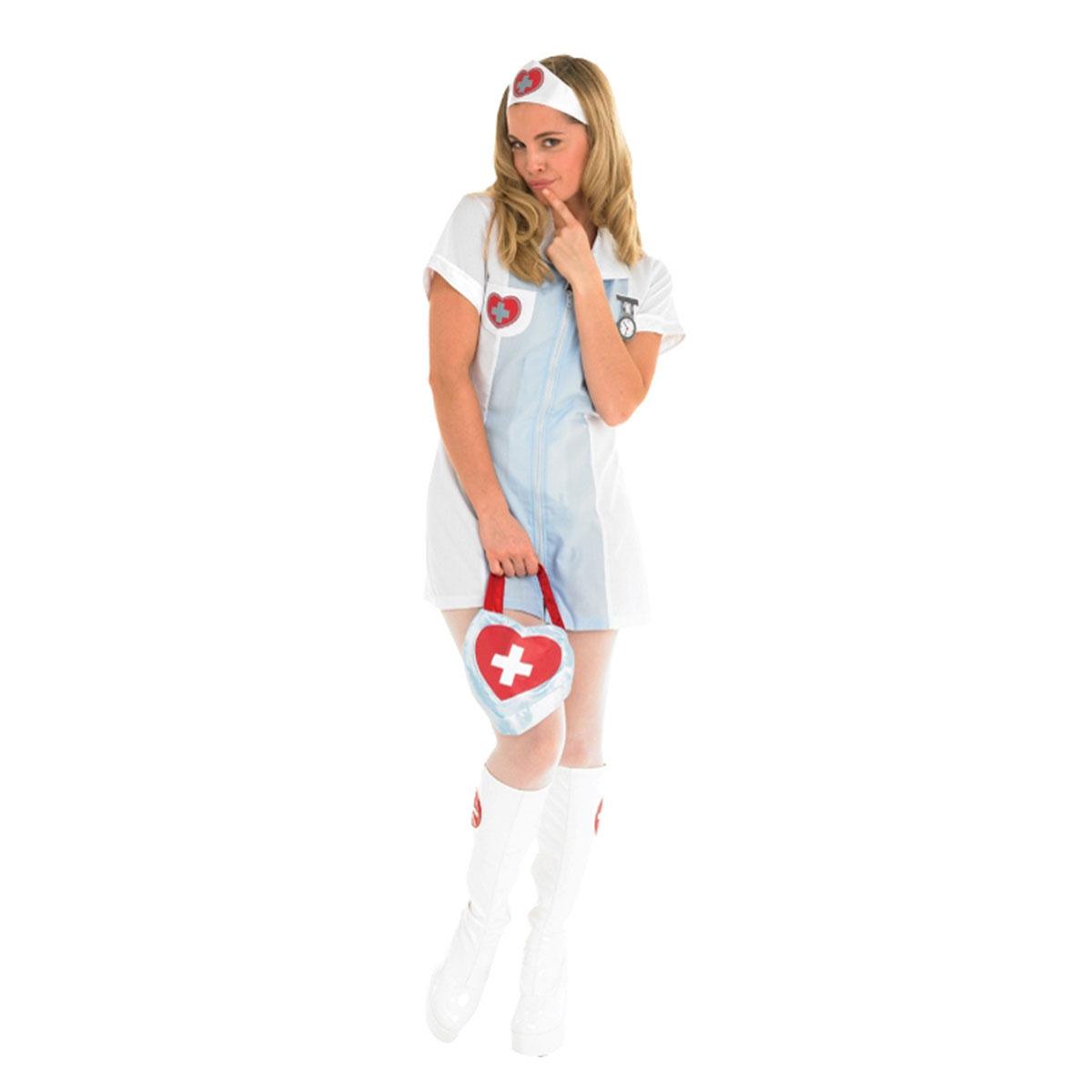 official adult nurse fancy dress costume  light blue