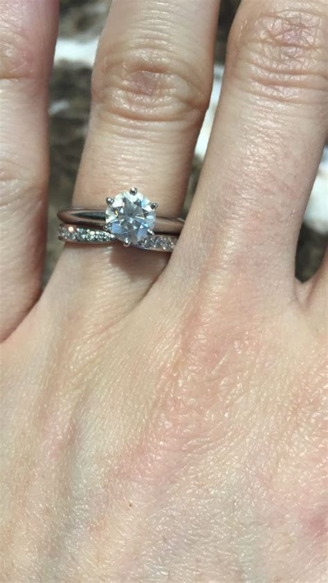 Tiffany's knife edge engagement ring with Tiffany's