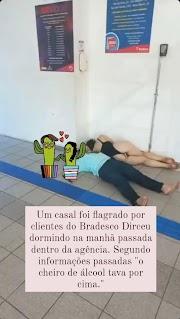 Casal é flagrado dormindo dentro de agência bancária em Teresina e viraliza