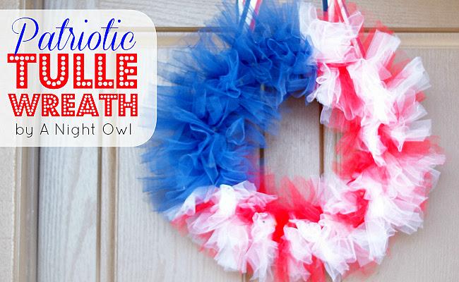 Patriotic Tulle Flag Wreath at @anightowlblog