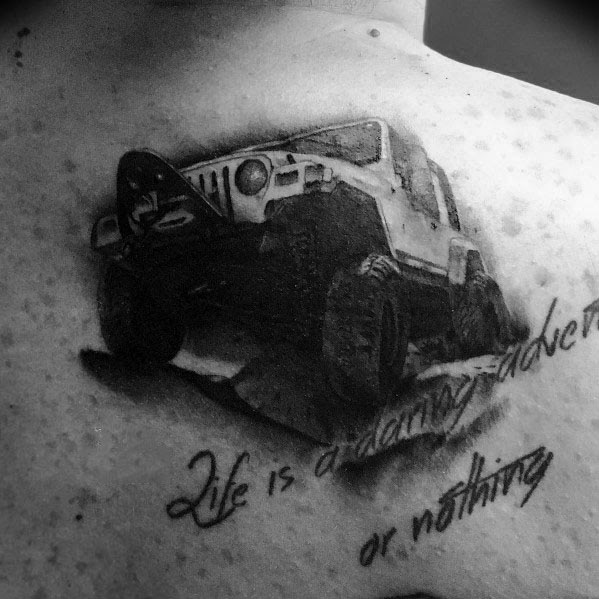 3D Realistic Mens Jeep Back Tattoo