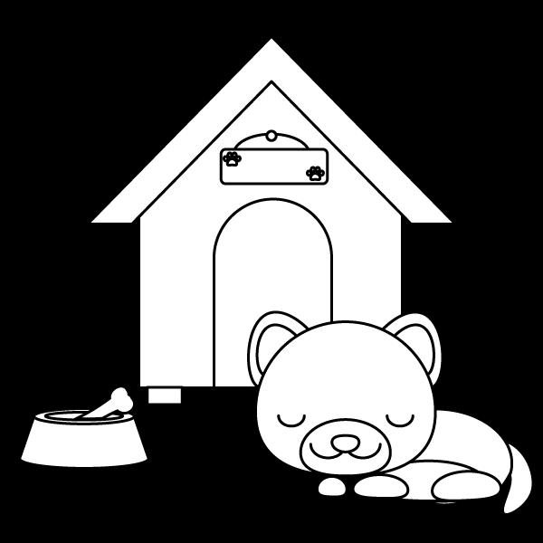 塗り絵に最適な白黒でかわいい眠っている犬の無料イラスト商用フリー
