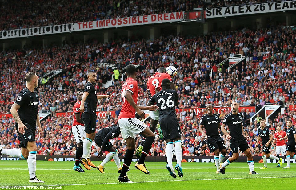 Lukaku doubled his and Manchester United's tally after meeting Henrikh Mkhitaryan's free-kick with his head