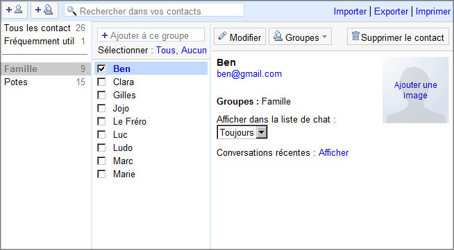 Vos contacts Gmail
