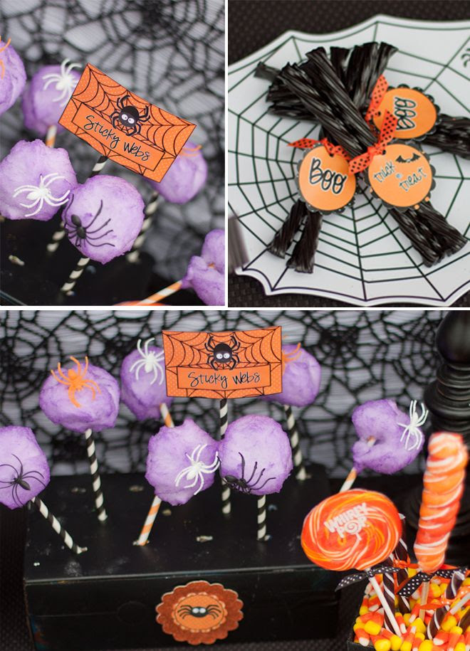 Cotton Candy + Striped Straws (plus plastic spiders) makes GENIUS Spiderwebs!!! Totally cute for Halloween parties!!! Love this idea!!!