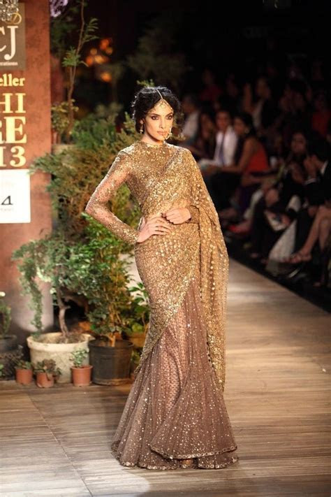 Gold & Light Brown Sparkly Sabyasachi #Saree With Sleeves