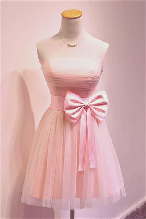 Cute Pink Bowknot Mini Cocktail Dress Strapless Short
