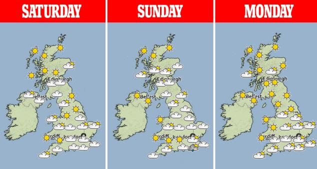 Forecasters have predicted dry and sunny weather with cool temperatures over the Easter weekend