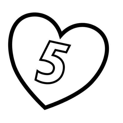 Dibujo De Número 5 En Un Corazón Para Colorear Dibujos Para