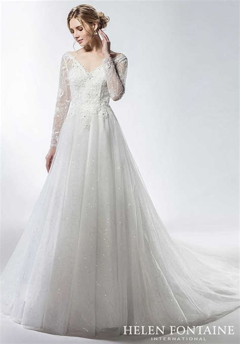 Sparkly Tulle Skirt Lace Top Wedding Gown with Long