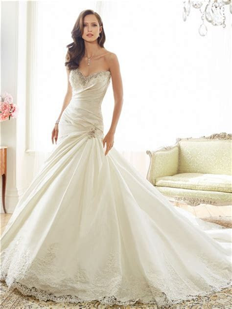Fit And Flare Trumpet Sweetheart Neckline Taffeta Lace