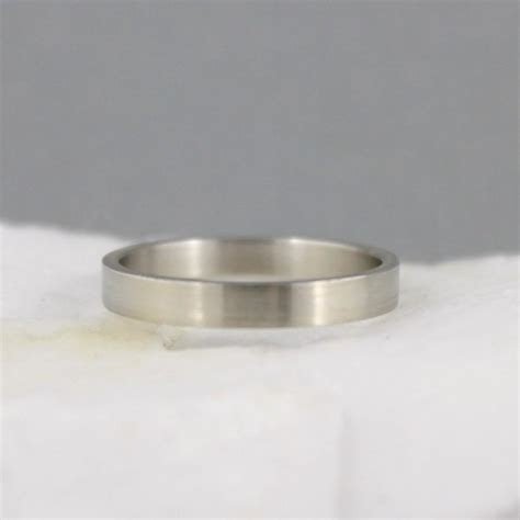3mm 14K White Gold Wedding Band   Unisex   Matte Finish Or