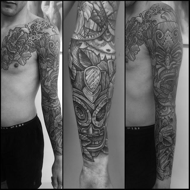Aztec Stone Masks Tattoo Sleeve Best Tattoo Ideas Gallery