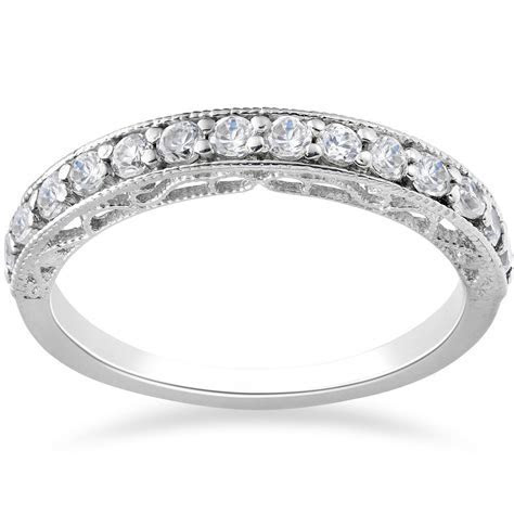 1/2ct Vintage Diamond Wedding Ring 14K White Gold   eBay