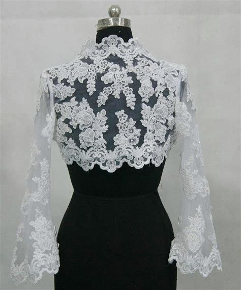 Long sleeve lace wedding jacket.