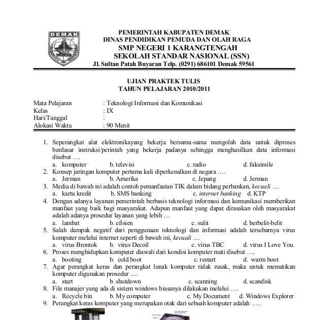 Soal Ujian Sekolah Tik Smp Website Delapan Enam Smp Ymik