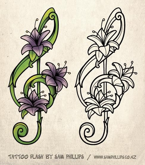 Flower Drawings For Tattoos Designed This Musical Note Tattoo