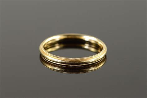 14K 3.1g 3mm Milgrain Wedding Band Men's Yellow Gold Ring