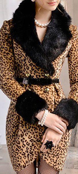 LUXE FAUX FUR COLLAR LEOPARD COAT DRESS STUNNING
