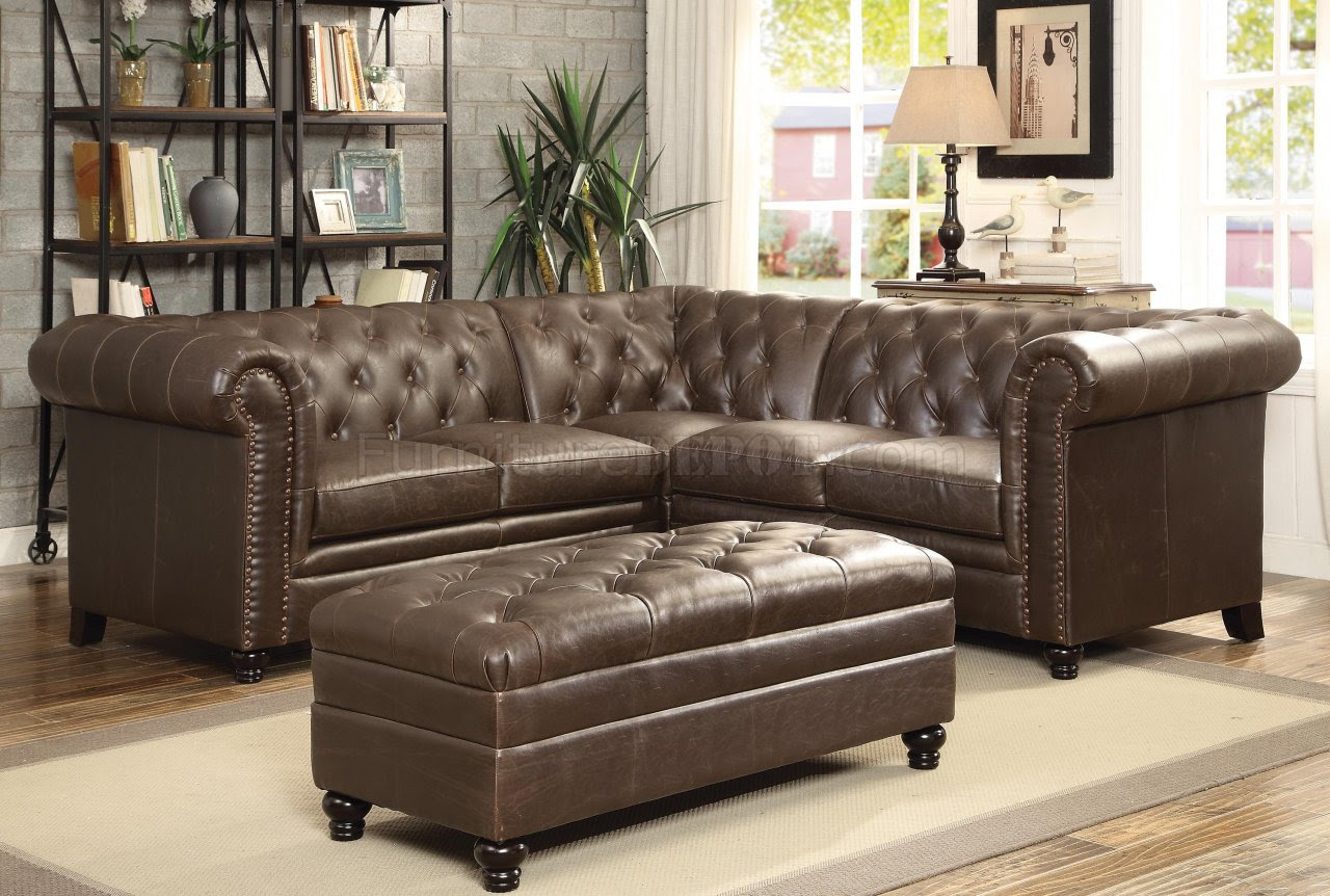 Roy Sectional Sofa 500268 Brown Bonded Leather Match By Coaster