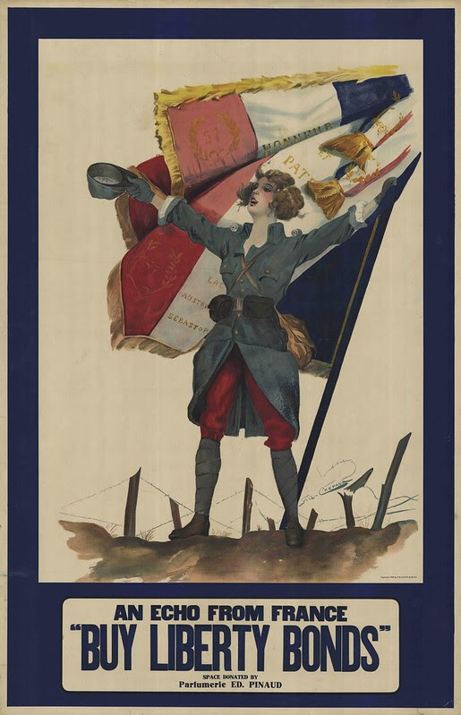 lithograph of (iconic) joyous, victorious french soldier woman, holding hat aloft besides billowing tricolour