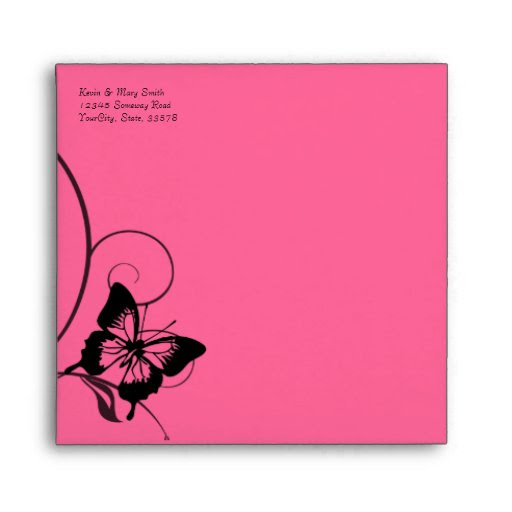 Download Black and Hot Pink Butterfly Envelope | Zazzle