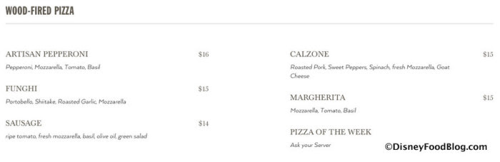 Screenshot of Wood-Fired Pizza Menu