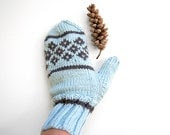 Hand Knit Scandinavian Mittens - Pale Ice Blue - Autumn Fall Winter - Womens Accessories - Warm Cozy - GreenBeanDesigns