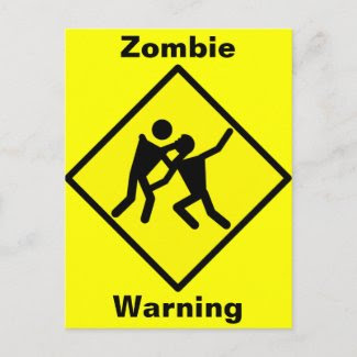 Zombie Warning Road Sign postcard