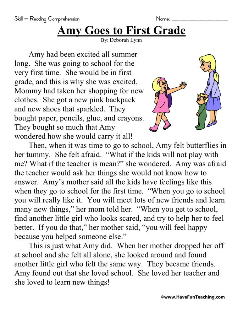 Reading Prehension Worksheet Amy Goes To First Grade